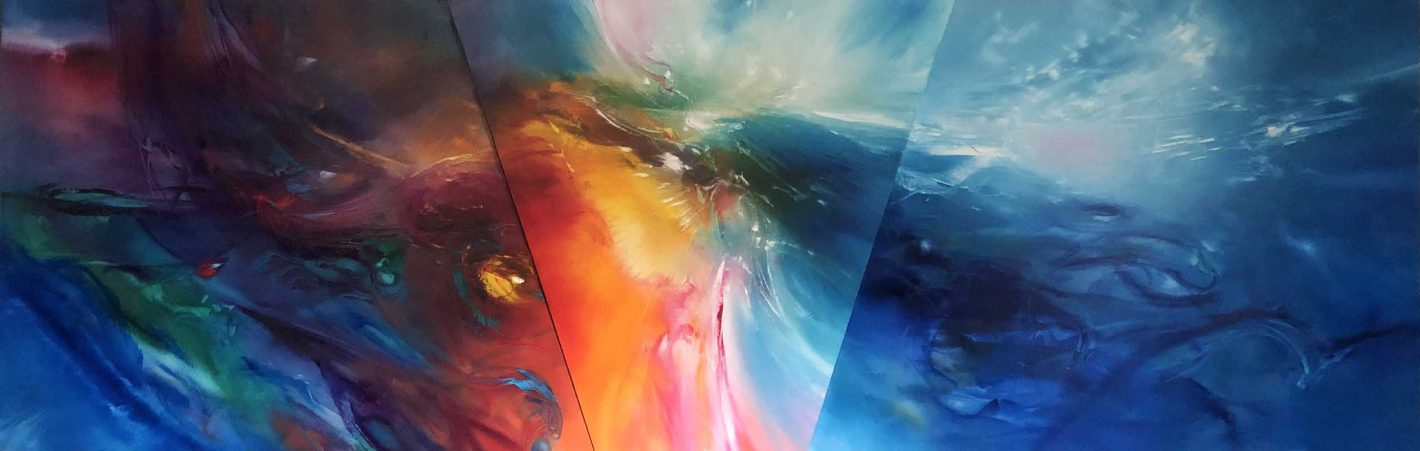 Vjekoslav Nemesh, Healer - triptych, oil on canvas, 77cm x 244cm, $9500