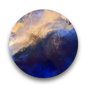 Alice Rosier, Amethyst Storm, artist's pigment and resin with a touch of a metallic ink on the metal board, 80cm diameter, $890