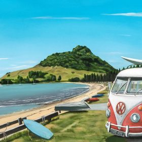 Graham Young, Pilot Bay - Mt Maunganui - oil on canvas, 60cm x 120cm, $4200.00