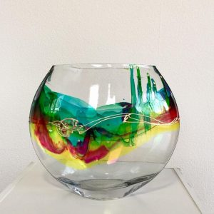 Hello Rainbow small round Hand Painted Glass Vase by Nemesh R$199 front