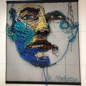 Kate MacKenzie, Roped In, mixed media, ropes, 206cm x 180cm, Sold.