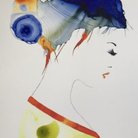 Polly by Susan Skelton acrylic and ink Approx. 63x45cm including white frame $900