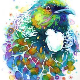 Rainbow Tui, A4 watercolour in white wooden frame by Darina Denali $850