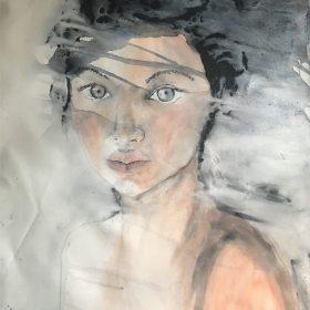 Tamzin Blair, Girl with Grey Eyes, 60cm x 80cm with a black frame, $1800