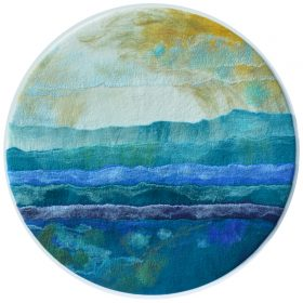 Today I will Stay on the Shore, felted artwork by Caroline Burton, 60cm dia $950